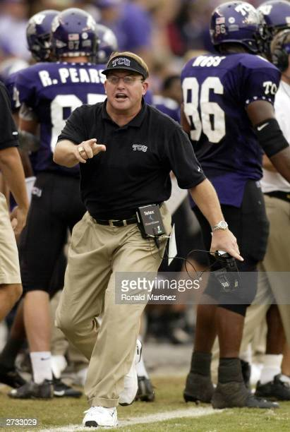Head coach Gary Patterson of the Texas Christian University Horned Frogs on the sidelines against the Cincinnati Bearcats at Amon G Carter Stadium on...