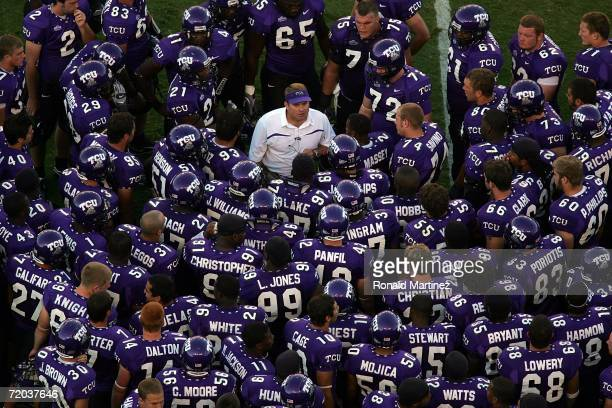 Head coach Gary Patterson of the Texas Christian University Horned Frogs talks to his team during halftime against the Brigham Young University...