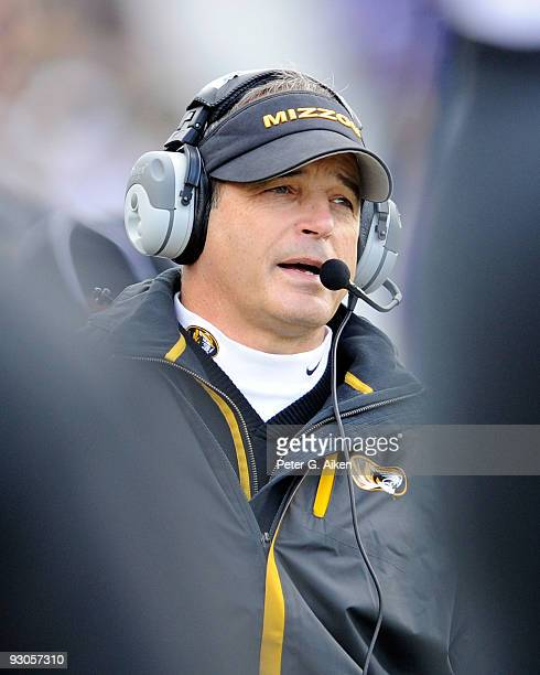 Head coach Gary Pinkel of the Missouri Tigers looks out onto the field during a game against the Kansas State Wildcats on November 14, 2009 at Bill...