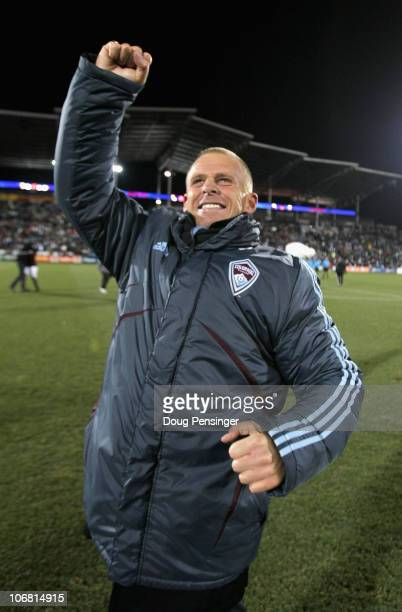 Head coach Gary Smith of the Colorado Rapids celebrates their victory over the San Jose Earthquakes in the MLS Eastern Conference Final at Dick's...