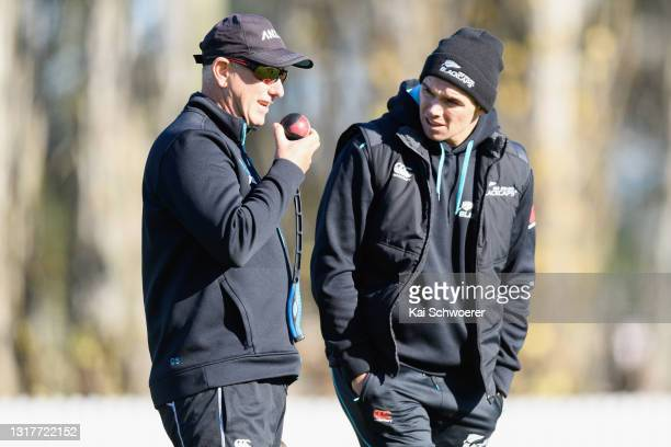 Head Coach Gary Stead and Tom Latham look on during a New Zealand Blackcaps training session at the New Zealand Cricket High Performance Centre on...