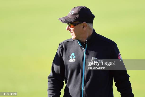 Head Coach Gary Stead looks on during a New Zealand Blackcaps training session at the New Zealand Cricket High Performance Centre on May 13, 2021 in...