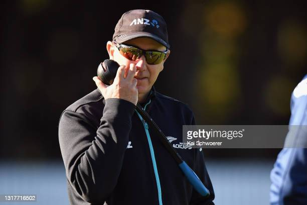 Head Coach Gary Stead reacts during a New Zealand Blackcaps training session at the New Zealand Cricket High Performance Centre on May 13, 2021 in...