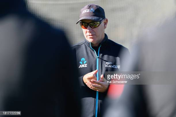 Head Coach Gary Stead speaks to his players during a New Zealand Blackcaps training session at the New Zealand Cricket High Performance Centre on May...