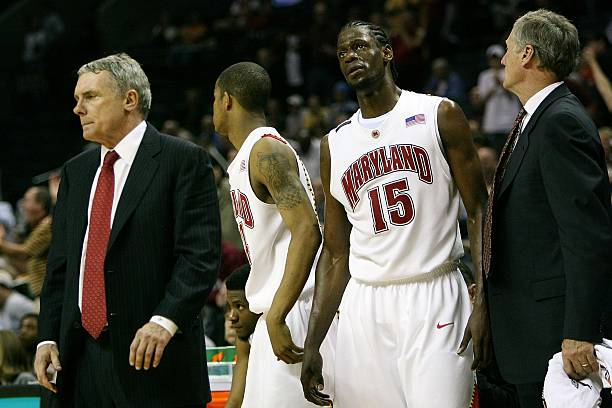 93ad75ba Head coach Gary Williams of the Maryland Terrapins and James Gist #15 react  while taking