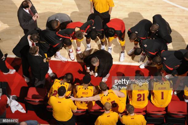 Head coach Gary Williams of the Maryland Terrapins talks to his team during a time out in the game against the Miami Hurricanes at the Comcast Center...