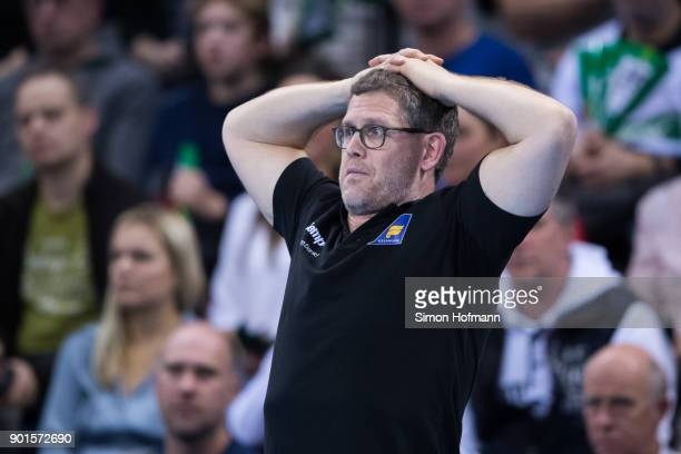 Head coach Geir Sveinsson of Iceland reacts during the International Handball Friendly match between Germany and Iceland at Porsche Arena on January...