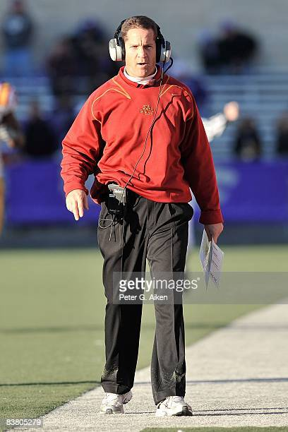 Head coach Gene Chizik of the Iowa State Cyclones walks the sidelines during a game against the Kansas State Wildcats on November 22 2008 at Bill...