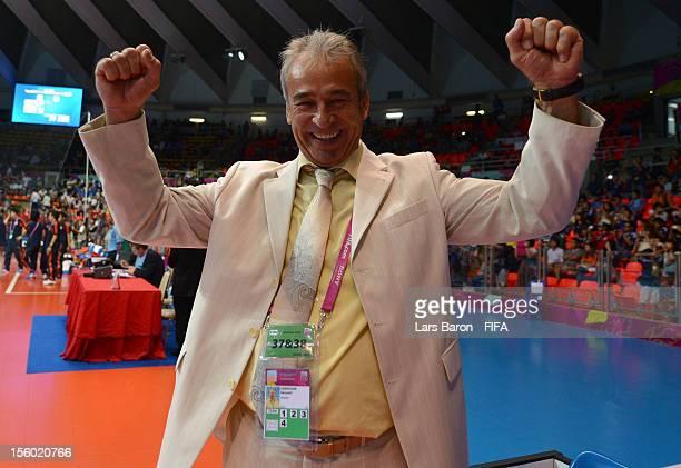 Head coach Gennadiy Lisenchuk of Ukraine celebrates after winning the FIFA Futsal World Cup Round of 16 match between Ukraine and Japan at Indoor...