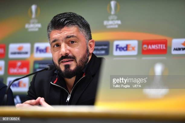 Head coach Gennaro Gattuso of AC Milan answers questions during a press conference after the UEFA Europa League Round of 32 match between AC Milan...