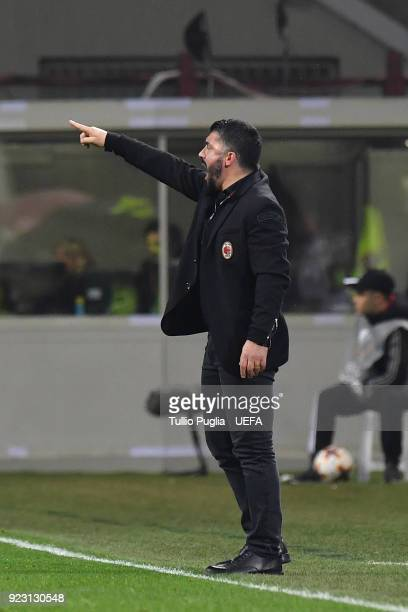 Head coach Gennaro Gattuso of AC Milan issues instructions during the UEFA Europa League Round of 32 match between AC Milan and Ludogorets Razgrad at...