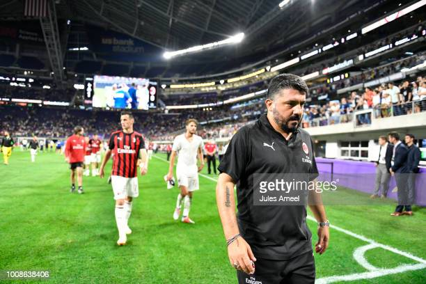 Head coach Gennaro Gattuso of AC Milan leaves the field after the International Champions Cup 2018 versus the Tottenham Hotspur at US Bank Stadium on...