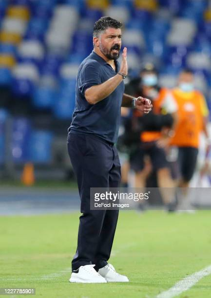 Head coach Gennaro Gattuso of Napoli gestures during the Serie A match between SSC Napoli and US Sassuolo at Stadio San Paolo on July 25 2020 in...
