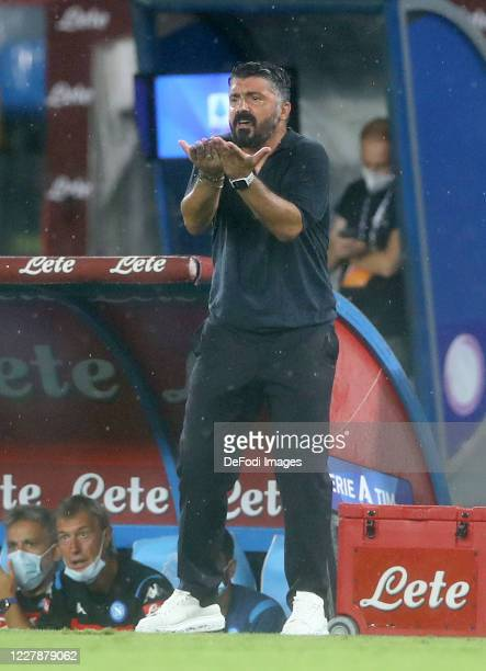 Head coach Gennaro Gattuso of Napoli gestures during the Serie A match between SSC Napoli and SS Lazio at Stadio San Paolo on August 1 2020 in Naples...