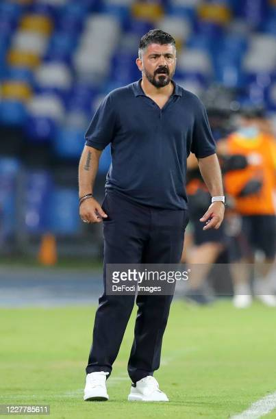 Head coach Gennaro Gattuso of Napoli looks on during the Serie A match between SSC Napoli and US Sassuolo at Stadio San Paolo on July 25 2020 in...