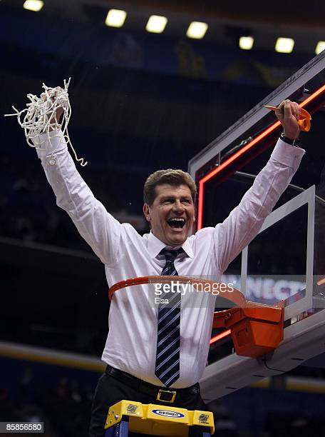 Head coach Geno Auriemma of the Connecticut Huskies celebrates the win the Louisville Cardinals on April 7 2009 during the NCAA Women's Final Four...