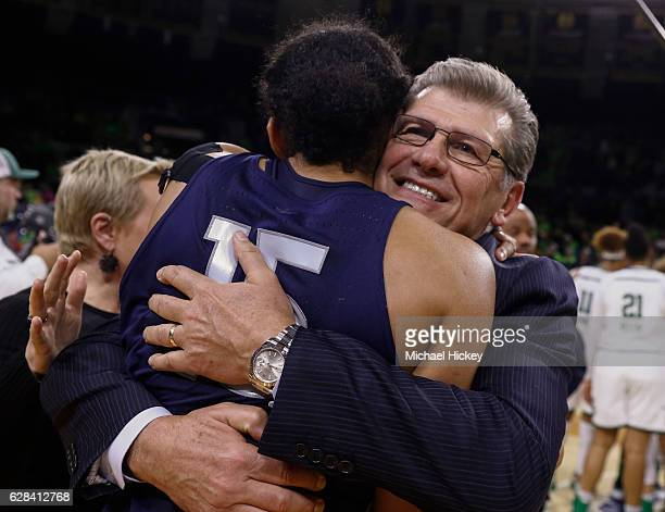 Head coach Geno Auriemma of the Connecticut Huskies hugs Gabby Williams of the Connecticut Huskies following the game against the Notre Dame Fighting...