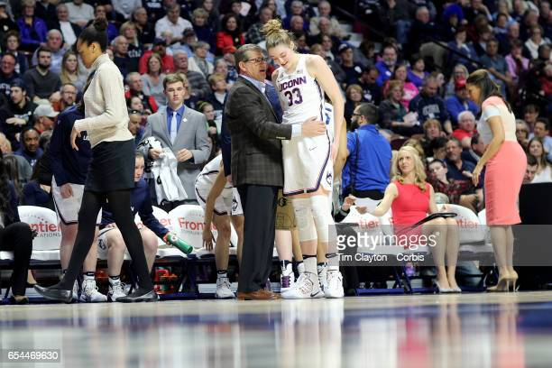 Head coach Geno Auriemma of the Connecticut Huskies with Katie Lou Samuelson of the Connecticut Huskies during the UConn Huskies Vs UCF Knights...
