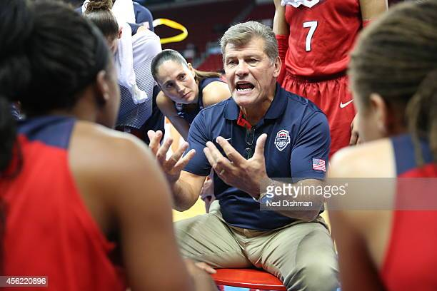 Head coach Geno Auriemma of the Women's Senior US National Team speaks in the huddle during a timeout against China during the qualification rounds...