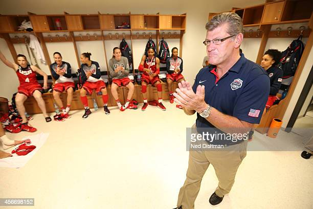 Head coach Geno Auriemma of the Women's Senior US National Team speaks to the team in the locker room after defeating Spain during the finals of the...