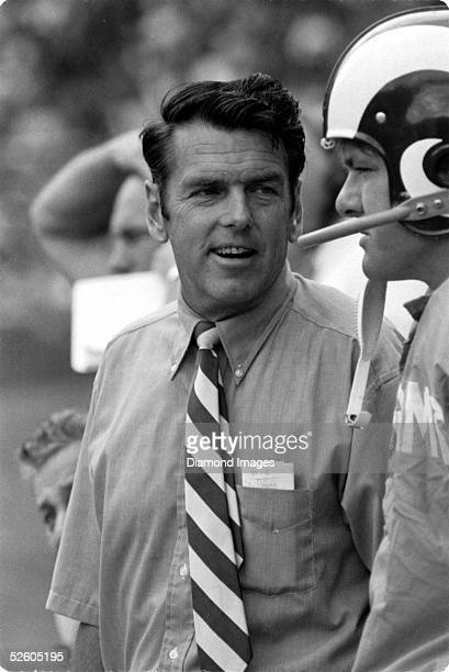 Head Coach George Allen of the Los Angeles Rams on the sidelines during a game on September 27, 1970 against the Buffalo Bills at War Memorial...