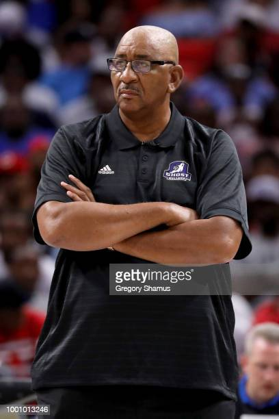 Head coach George Gervin of the Ghost Ballers looks on during the game against the Power during BIG3 Week Four at Little Caesars Arena on July 13...