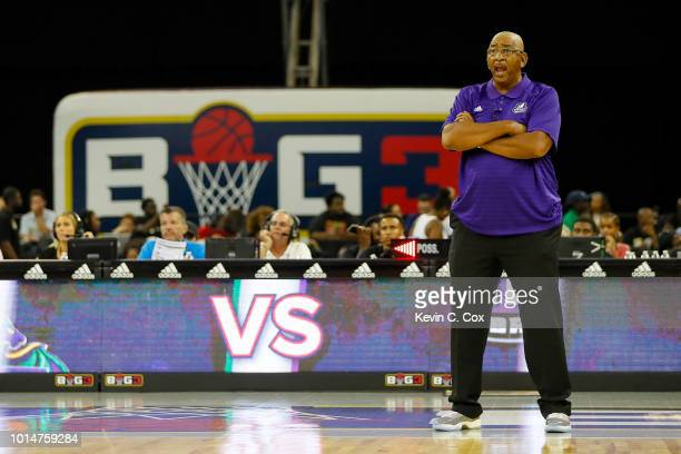 Head coach George Gervin the Ghost Ballers looks on against the 3 Headed Monsters during week eight of the BIG3 three on three basketball league at...
