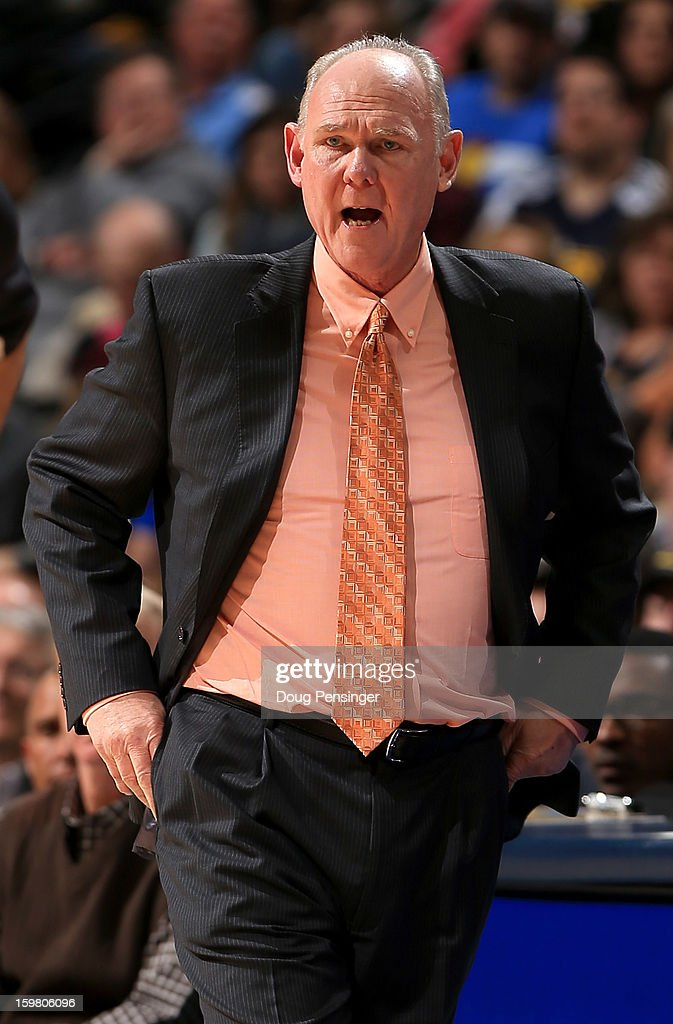 Head coach George Karl of the Denver Nuggets leads his team against the Oklahoma City Thunder at the Pepsi Center on January 20, 2013 in Denver, Colorado. Karl moved into sixth place on the NBA All Time Wins List posting his 1099th victory with a 121-118 win over the Oklahoma City Thunder in overtime.