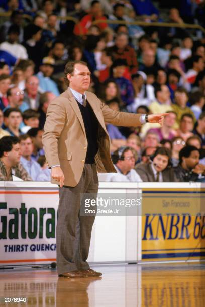 Head coach George Karl of the Golden State Warriors instructs from the sidelines during an NBA game in the 1987-88 season. NOTE TO USER: User...