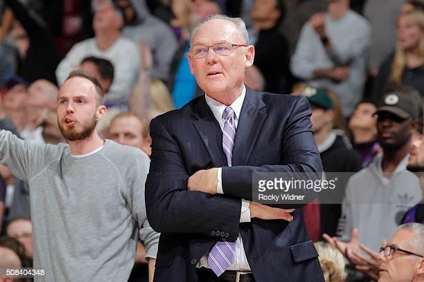 Head coach George Karl of the Sacramento Kings coaches against the Charlotte Hornets on January 25 2016 at Sleep Train Arena in Sacramento California...