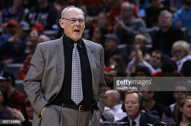 Head Coach George Karl of the Sacramento Kings gets a technical foul after talking to the official during an NBA game against the Toronto Raptors at...