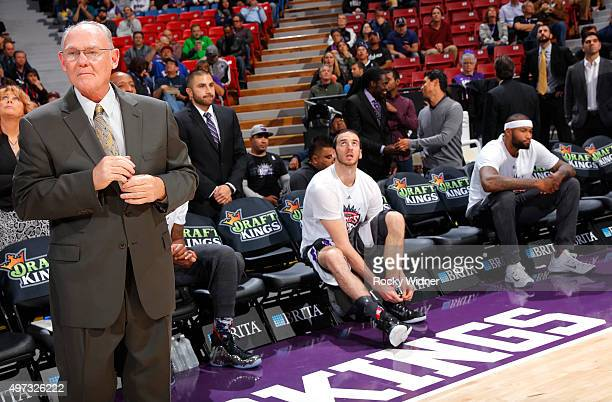 Head coach George Karl of the Sacramento Kings looks on prior to the game against the Detroit Pistons on November 11 2015 at Sleep Train Arena in...
