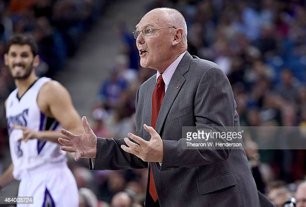 Head coach George Karl of the Sacramento Kings reacts to a call by the officials against the Boston Celtics in the third quarter of an NBA game at...