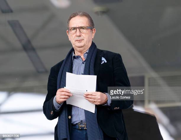 Head coach Georges Leekens of Hungarian National Team holds a sheet of paper in his hands prior to the Hungarian OTP Bank Liga match between Vasas FC...