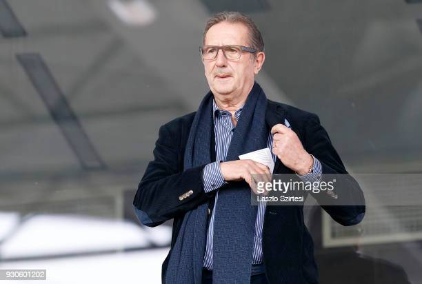 Head coach Georges Leekens of Hungarian National Team puts a sheet of paper into his pocket prior to the Hungarian OTP Bank Liga match between Vasas...