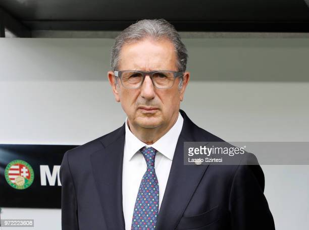 Head coach Georges Leekens of Hungary listens to the anthem prior to the International Friendly match between Hungary and Australia at Groupama Arena...