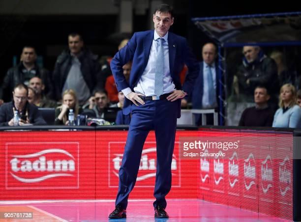Head coach Georgios Bartzokas of Khimki looks on during the 2017/2018 Turkish Airlines EuroLeague Regular Season Round 18 game between Crvena Zvezda...