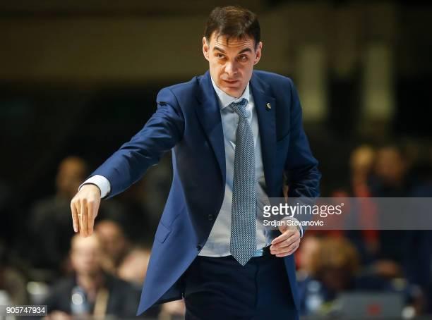 Head coach Georgios Bartzokas of Khimki reacts during the 2017/2018 Turkish Airlines EuroLeague Regular Season Round 18 game between Crvena Zvezda...