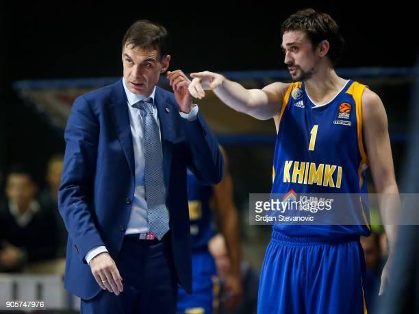 Head coach Georgios Bartzokas of Khimki talk to the Alexey Shved during the 2017/2018 Turkish Airlines EuroLeague Regular Season Round 18 game...