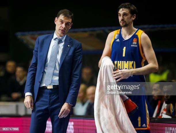 Head coach Georgios Bartzokas of Khimki talks to the Alexey Shved during the 2017/2018 Turkish Airlines EuroLeague Regular Season Round 18 game...