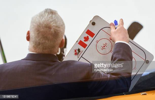 Head coach Gerard Gallant of Canada with Coaching Board Hockey during the 2021 IIHF Ice Hockey World Championship group stage game between Germany...