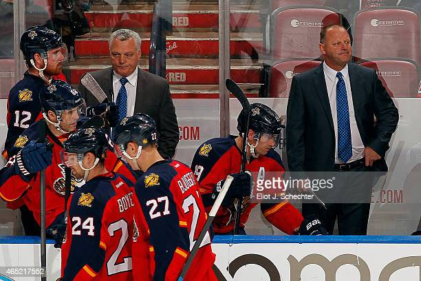 Head Coach Gerard Gallant of the Florida Panthers formulates a action plan against the Tampa Bay Lightning at the BBT Center on March 1 2015 in...
