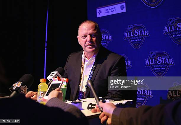 Head coach Gerard Gallant of the Florida Panthers speaks during Media Day for the 2016 NHL AllStar Game at Bridgestone Arena on January 29 2016 in...