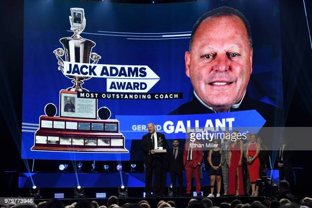 Head coach Gerard Gallant of the Vegas Golden Knights accepts the Jack Adams Award given to the top head coach onstage at the 2018 NHL Awards...