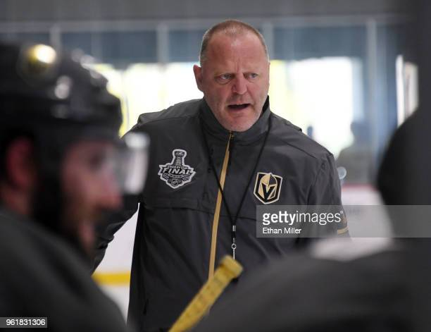Head coach Gerard Gallant of the Vegas Golden Knights attends the team's first practice since winning the Western Conference Finals at City National...