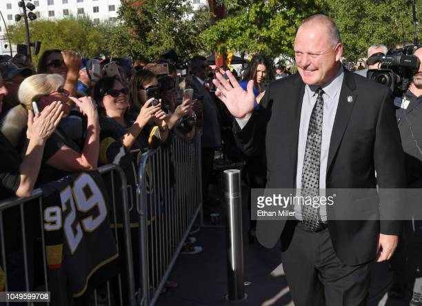 Head coach Gerard Gallant of the Vegas Golden Knights greets fans as he arrives at the team's home opener against the Philadelphia Flyers at TMobile...