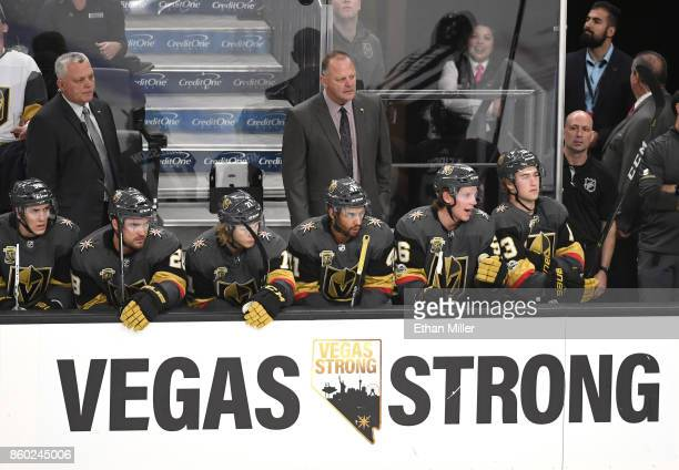 Head coach Gerard Gallant of the Vegas Golden Knights handles bench duties during the Golden Knights' inaugural regularseason home opener against the...