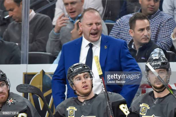 Head coach Gerard Gallant of the Vegas Golden Knights leads his team against the Vancouver Canucks during the game at TMobile Arena on March 20 2018...