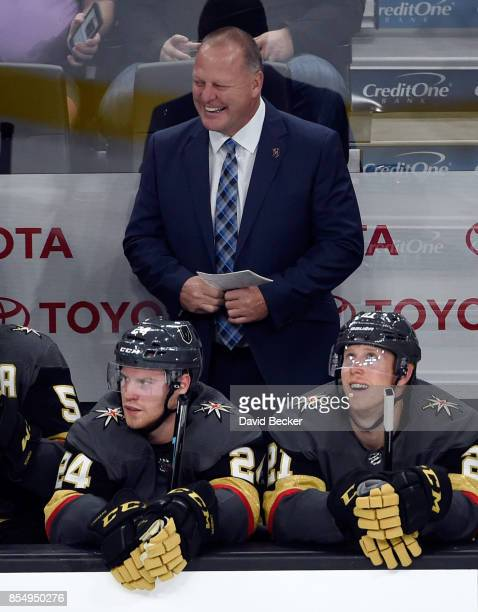 Head coach Gerard Gallant of the Vegas Golden Knights looks on during a preseason game against the Los Angeles Kings at TMobile Arena on September 26...