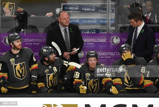 Head coach Gerard Gallant of the Vegas Golden Knights looks on against the Winnipeg Jets during the second period in Game Four of the Western...
